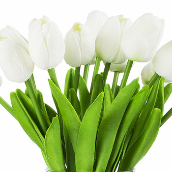 Artificial Real Touch Tulips Flower Arrangement in Clear Glass Vase With Faux Water(White)