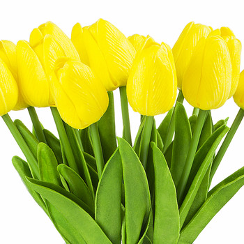 Artificial Real Touch Tulips Flower Arrangement in Clear Glass Vase With Faux Water(Yellow)