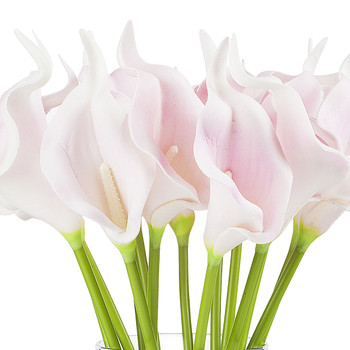 Artificial Real Touch Calla Lily Flower Arrangement in Clear Glass Vase With Faux Water(Pink)