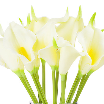 Artificial Real Touch Calla Lily Flower Arrangement in Clear Glass Vase With Faux Water(Ivory)