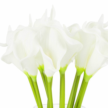 Artificial Real Touch Calla Lily Flower Arrangement in Clear Glass Vase With Faux Water(White)