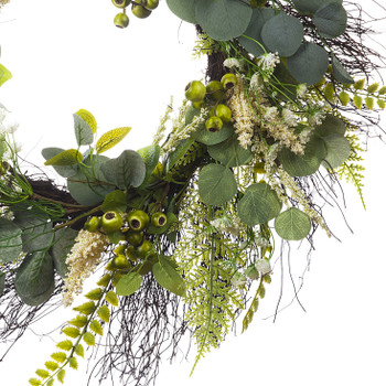 """24"""" Artificial Eucalyptus Leaves Wreath with Green Berry  for Festival Celebration Front Door Wall Window Party Decoration"""