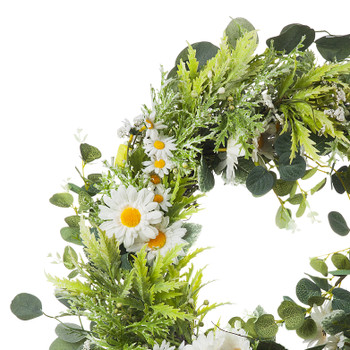"""22"""" Artificial Daisy Flower  Wreath with Green Leaves for Festival Celebration Front Door Wall Window Party Decoration"""