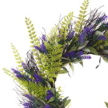 """24"""" Artificial Lavender Flower  Wreath with Green Leaves for Festival Celebration Front Door Wall Window Party Decoration"""