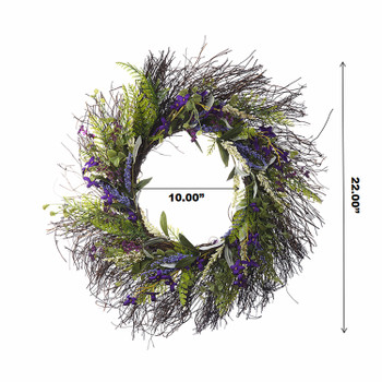 """22"""" Artificial Lavender Flower  Wreath with Green Leaves for Festival Celebration Front Door Wall Window Party Decoration"""