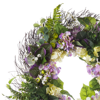 """24"""" Artificial Mixed Hydrangea Flower  Wreath with Green Leaves for Festival Celebration Front Door Wall Window Party Decoration"""