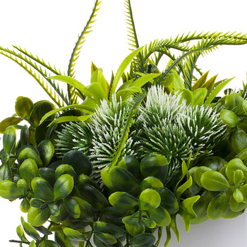 Mixed Artificial Eucalyptus Grass Arrangement  in White Ceramic Vase(White)
