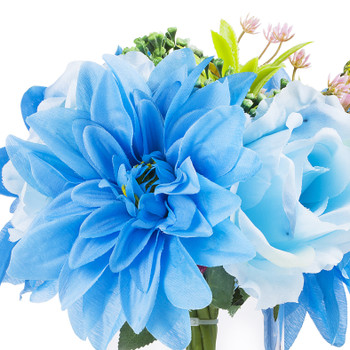 Mixed Silk Rose and Dahlia  Flower Arrangement in Clear Glass Vase With Faux Water(Blue)