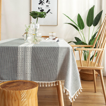 Light Grey High Quality Rectangle Cotton and Linen Tablecloth with Tassels