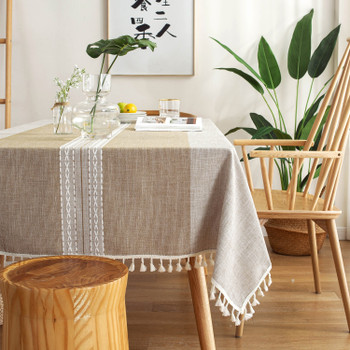 Brown High Quality Rectangle Cotton and Linen Tablecloth with Tassels