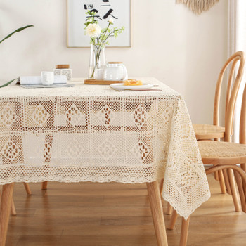 Beige High Quality Rectangle Cotton and Linen Tablecloth
