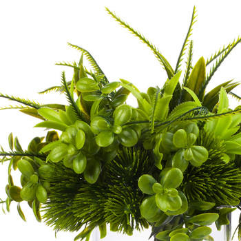 Mixed Artificial Boxwood Grass Arrangement  in Clear Glass Vase(Green)