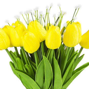 Artificial Real Touch Tulips Flower and Star Grass in Clear Glass Vase With Faux Water(Yellow)