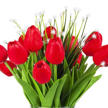 Artificial Real Touch Tulips Flower and Star Grass in Clear Glass Vase With Faux Water(Red)