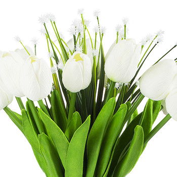 Artificial Real Touch Tulips Flower and Star Grass in Clear Glass Vase With Faux Water(White)