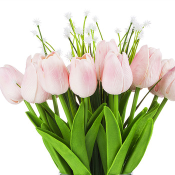 Artificial Real Touch Tulips Flower and Star Grass in Clear Glass Vase With Faux Water(Pink)