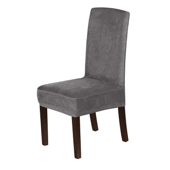 Soft Thick Solid Velvet Fabric Stretchy Universal Dining Chair Slipcovers (Grey)