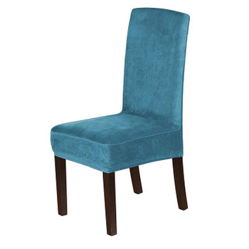 Soft Thick Solid Velvet Fabric Stretchy Universal Dining Chair Slipcovers (Peacock Blue)