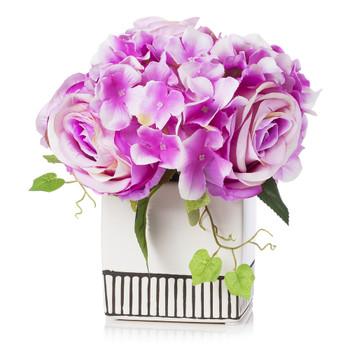 Mixed Silk Hydrangea and Rose Flower Arrangement in White Ceramic Pot(Purple)