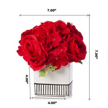 Mixed Silk Hydrangea and Rose Flower Arrangement in White Ceramic Pot(Red)