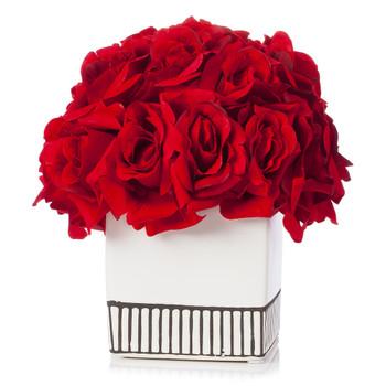 18 Heads Silk Rose Flower Arrangement in White Ceramic Pot(Red)