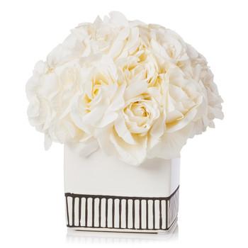 18 Heads Silk Rose Flower Arrangement in White Ceramic Pot(Cream)