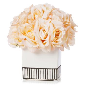 18 Heads Silk Rose Flower Arrangement in White Ceramic Pot(Peach)