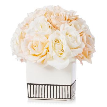 18 Heads Silk Rose Flower Arrangement in White Ceramic Pot(Cream Beige)