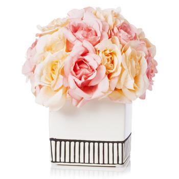 18 Heads Silk Rose Flower Arrangement in White Ceramic Pot(Beige Pink)