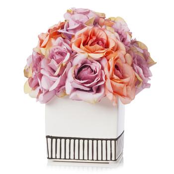 18 Heads Silk Rose Flower Arrangement in White Ceramic Pot(Purple Beige)