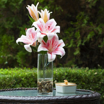 3 Large Heads Artificial Real Touch Lilies Flower Arrangement in  Glass Vase With Faux Water and River Rock(Pink)
