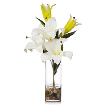 3 Large Heads Artificial Real Touch Lilies Flower Arrangement in  Glass Vase With Faux Water and River Rock(Cream)