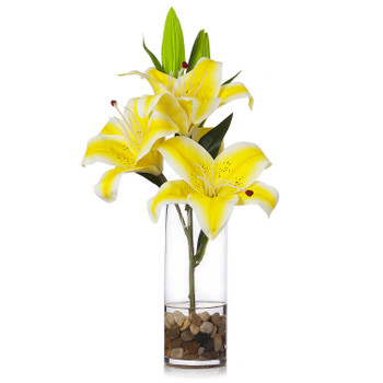 3 Large Heads Artificial Real Touch Lilies Flower Arrangement in  Glass Vase With Faux Water and River Rock(Yellow)