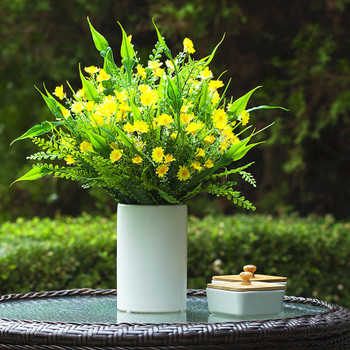 Artificial Mixed Floral Arrangement in White Ceramic Vase(Yellow)