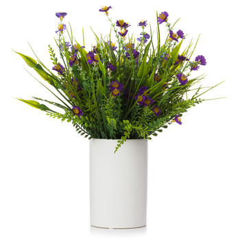 Artificial Mixed Floral Arrangement in White Ceramic Vase(Purple)