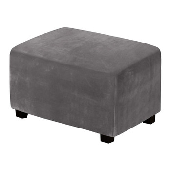 One Piece  Extra Large Removable Stretch Velvet Fabric Ottoman Slipcover with Elastic Bottom(Grey)