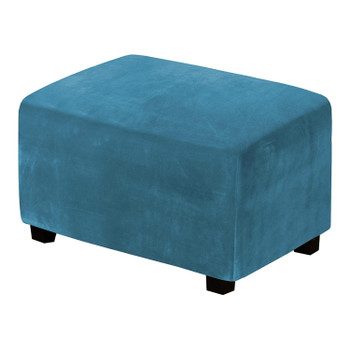 One Piece Extra Large Removable Stretch Velvet Fabric Ottoman Slipcover with Elastic Bottom(Peacock Blue)