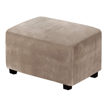 One Piece Extra Large Removable Stretch Velvet Fabric Ottoman Slipcover with Elastic Bottom(Taupe)