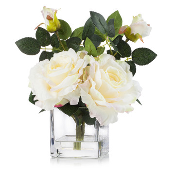 3 Large Silk Roses Flower Arrangement in Clear Glass Vase With Faux Water(Peach)