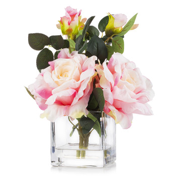 3 Large Silk Roses Flower Arrangement in Clear Glass Vase With Faux Water(Pink)