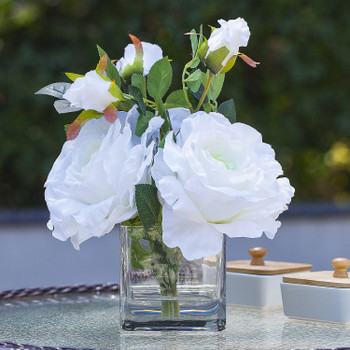 3 Large Silk Roses Flower Arrangement in Clear Glass Vase With Faux Water(White)