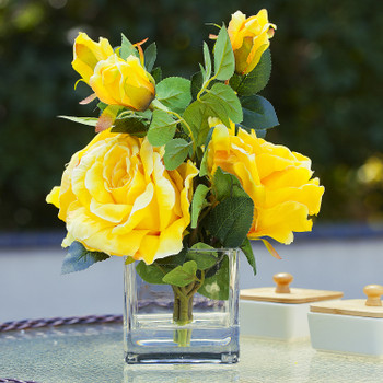 3 Large Silk Roses Flower Arrangement in Clear Glass Vase With Faux Water(Yellow)