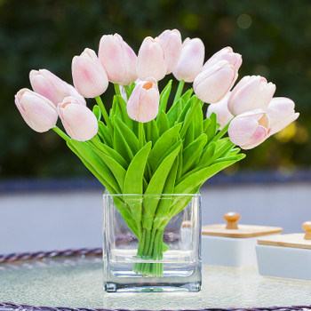20 Pieces Artificial Real Touch Tulips Flower Arrangement in  Cube Glass Vase With Faux Water(Pink)