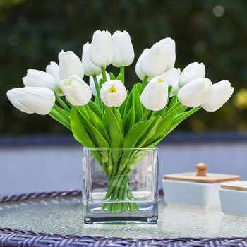 20 Pieces Artificial Real Touch Tulips Flower Arrangement in  Cube Glass Vase With Faux Water(White)