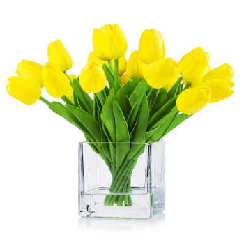 20 Pieces Artificial Real Touch Tulips Flower Arrangement in  Cube Glass Vase With Faux Water(Yellow)