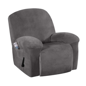 Real Velvet  Spandex  Recliner Chair Slipcover with Elastic Bottom Side Pocket(Grey)