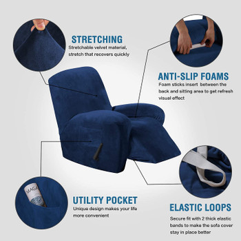 Real Velvet  Spandex  Recliner Chair Slipcover with Elastic Bottom Side Pocket(Dark Blue)