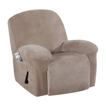 Real Velvet  Spandex  Recliner Chair Slipcover with Elastic Bottom Side Pocket(Taupe)