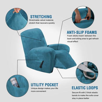 Real Velvet  Spandex  Recliner Chair Slipcover with Elastic Bottom Side Pocket(Peacock Blue)