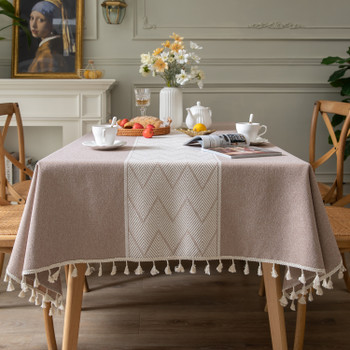 High Quality Rectangle Cotton and Linen Tablecloth with Tassels (Brown)